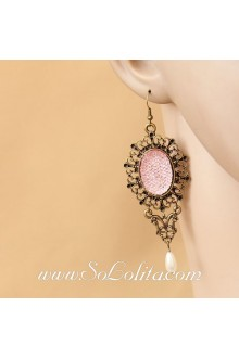 Lolita Sweety Pink Retro Archaize Earring