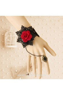 Red Rose Black Vintage Lace Luxury Lolita Bracelet