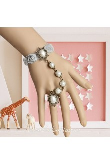 Lady Pearl Grey Rose Flower Lace Vintage Lolita Bracelet