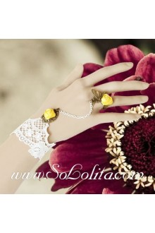 Little Fresh White Lace Yellow Little Flower Lolita Bracelet