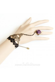 Elf Tribe Black Lace Purple Rose Lolita Bracelet