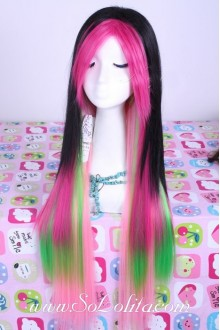 Rainbow Straight Gradient Fashion Long Lolita Cute Cosplay Wig