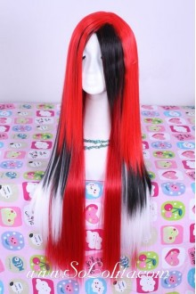 Punk Nightclub Red Long Straight Lolita Cute Cosplay Wig
