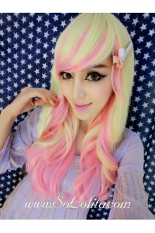 Queen Pink Long Curly Yellow Gradient Lolita Cute Cosplay Wig