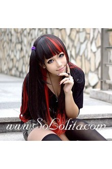 Black and Red Mixed Color Punk Lolita Cute Cosplay Wig