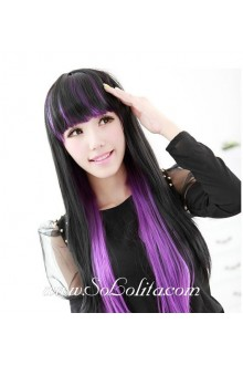 Sweet Girl Black Purple Double Gradient Lolita Cute Cosplay Wig