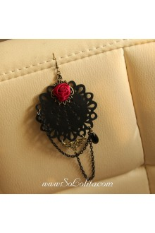 Lolita Punk Style Pop Red Rose Party Earring
