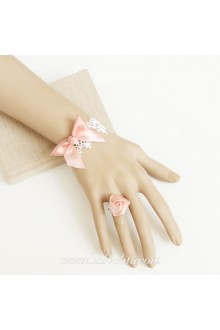 White Lace Pink Ribbon Bow Flower Simple Sweet Lolita Bracelet
