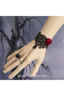 Black Lace Red Rose Vampire Accessory Lolita Bracelet