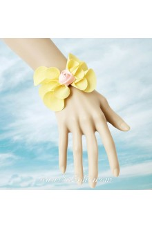 Little Fresh Sweet Yellow Bowknot Pink Flower Lolita Bracelet