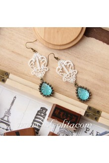 Lolita Sweety Cute Lace Gem Retro Fashion Handmade Earring