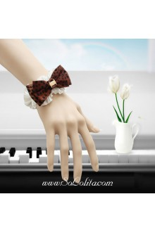Fashion Lady Leopard Print Lace Bow Lolita Bracelet