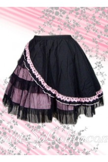Pink Flounce Hem Black Cotton Lolita Skirt