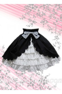 Bowknot Black Petal Hem White Multi-Player Lolita Skirt