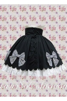 Black and White Two Layers Bowknot Lolita Skirt