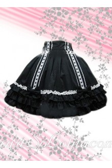 Black Bow Pleated Hem Lolita Skirt