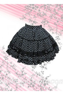 White Polka Dot Black Lolita Skirt