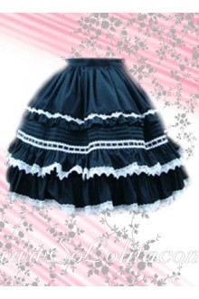 Ruffled White Petal Hem Blue Mini Lolita Skirt