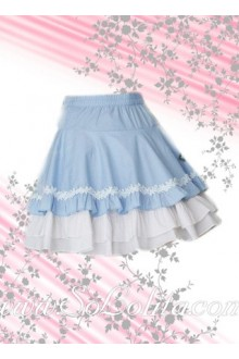 Three Layers Skyblue Lovely Lolita Skirt