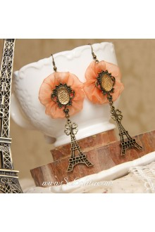Lolita Personality Eiffel Tower Clover Large Flower Pattern Earring