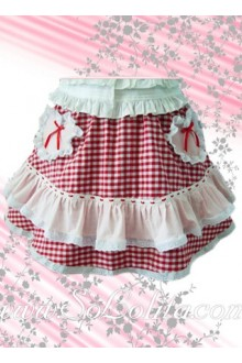 Kawayi Red Plaid White Hem Lolita Skirt