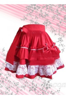 Red Bow Ruffle White Petal Hem Lolita Skirt