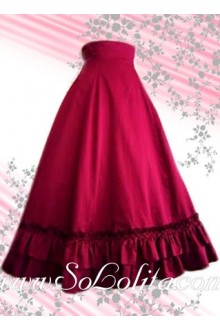 Red Long Flounce Multilwyers Hem Lolita Skirt