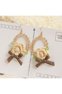Lolita Sen Department Flower Bow Retro Wild Pop Earring