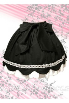 Black and White Pleated Petal Hem Lolita Skirt