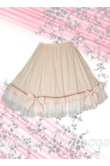 Sweet Pink and White Ruffle Bow Lolita Skirt