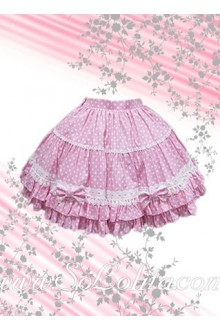 Pink Polka Dots Lovely Bow Lolita Skirt