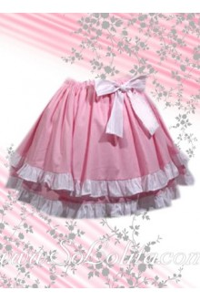 Sweet Pink Bow Two Layers Lolita Skirt