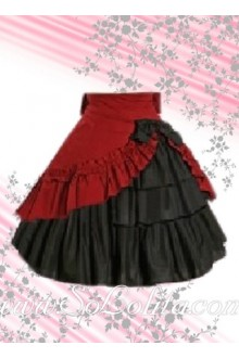 Red Ruffle Hem Black Multilayers Lolita Skirt