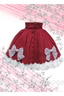 Red and White Ruffle Petal Hem Bow Lolita Skirt
