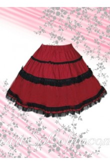 Black Lace Hem Red Coton Lolita Skirt