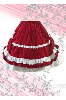 Red Pleated Multilayers Lolita Skirt