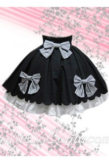 Hotsale Bows Black and White Petal Hem Lolita Skirt
