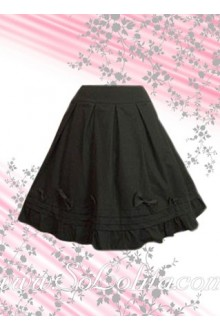 Black Ruffle Bow Hem Fashion Lolita Skirt