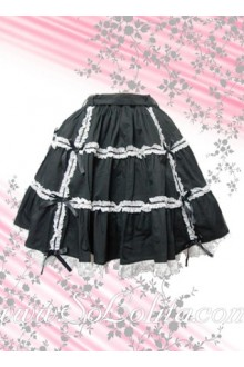 White Petal Hem Black Ruffle Sweet Lolita Skirt