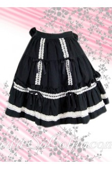 White Hem Black Ruffle Bow Lolita Skirt