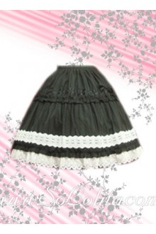 WHita Petal Hem Black Simple Fashion Lolita Skirt
