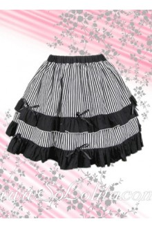Black and White Stripes Ruffle Lolita Skirt