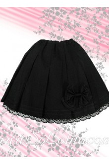 Black Bow Lace Petal Hem Fashion Lolita Skirt