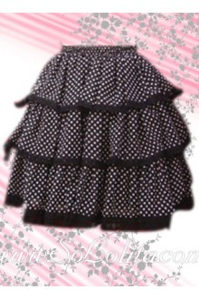 White Polka Dots Black Hem Lolita Skirt