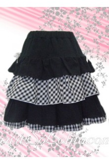 Black and Black Plaid Multilayer Lolita Skirt