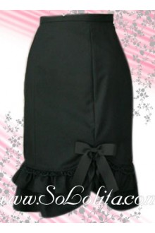 Bow Flounce Hem Black Lolita Skirt