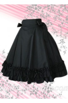 Black Pleated Flounce Hem Bow Lolita Skirt