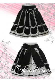 Black and White Ruffle Petal Hem Lolita Skirt