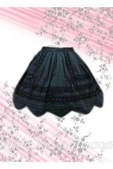 Pleated Petal Hem Cotton Lolita Skirt