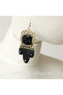Lolita Punk Style Fashion Black-Rose Handmade Earring